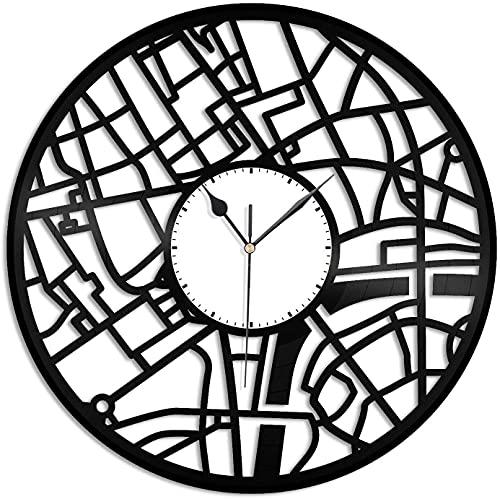 Reloj de pared retro con diseño de mapa de Londres, regalo único, regalo de Año Nuevo, Navidad, cumpleaños, personalidad, creativo, decoración de pared