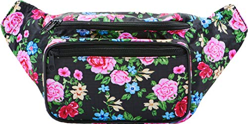 SoJourner Black Rose Fanny Pack - Cute Floral Packs for men, women festivals...