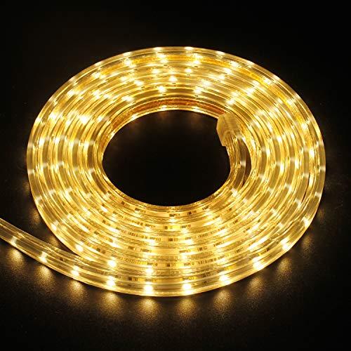 kefflum Striscia LED 5 Metri Luce Calda SMD 3528 Strisce Impermeabile Accorciabile 220v IP65