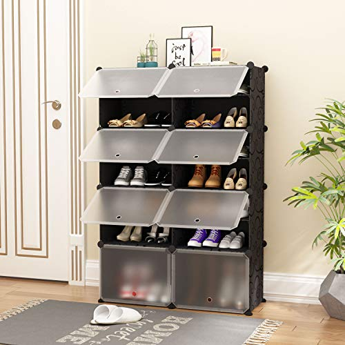 JOISCOPE Portable Shoe Storage Organzier Tower, Modular Cabinet for Space Saving, Ideal Shoe Rack for Shoes, Boots, Slippers (Black,2x7-tier)