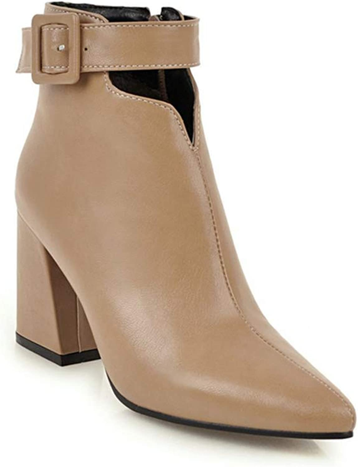 GIY Women's Fashion Pointed Toe Dressy Western Ankle Boots Chunky Heel Zipper Chelsea Booties Short Boots