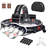 SaponinTree Linterna Frontal LED USB Recargable, 8 LED Linterna Cabeza con 8 Modos y Luz Roja de Advertencia, Impermeable Linternas Frontales Super Brillante IPX4 para Pesca, Bicicleta