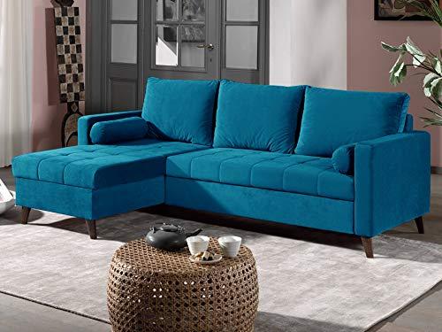 Canapé d'angle 4 places Velours Pas cher Contemporain