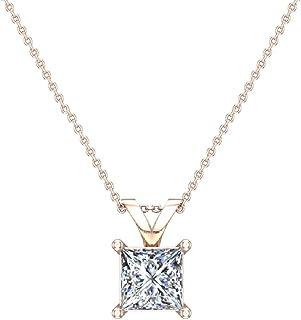Collana con diamante solitario a taglio princess, oro 14 carati (G, SI) qualità straordinaria