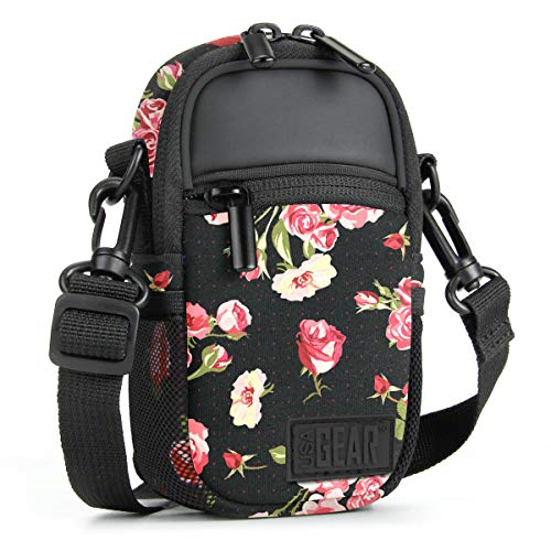 USA GEAR Compact Camera Case (Floral) Point and Shoot Camera Bag with Accessory Pockets, Rain Cover and Shoulder Strap - Compatible with Sony CyberShot, Canon PowerShot ELPH, Nikon COOLPIX and More
