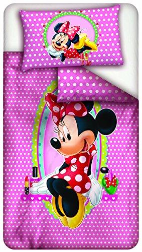 Disney Minnie Beauty Parure Drap et Housse de Couette, en Coton, Rose à Pois Blancs, Une Place