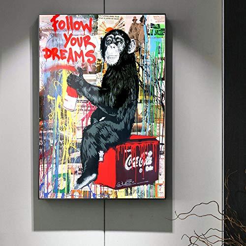 ganlanshu Rahmenlose MalereiModerne Street Art Leinwandmalerei folgt Ihren Träumen. Graffiti-Kunstplakate und Druckleinwand60X108cm