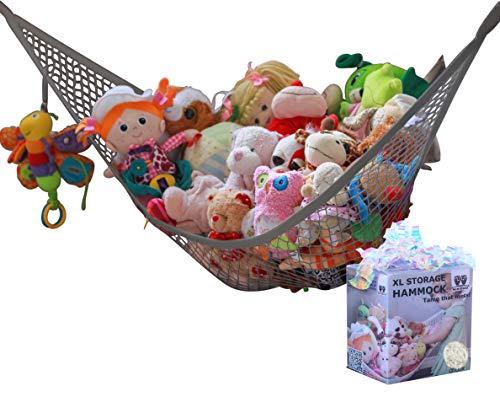 MiniOwls Toy Hammock Organizer Plush Toy Storage for Baby/Nursery or Bed Room. Fits All Décor. Corner Wall Display Shelf. Fits 30-40 Teddies (Gray, X-Large)