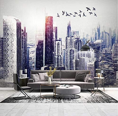 Simplicidad moderna personalizada Papel tapiz fotográfico 3D pintado a mano ciudad mural arquitectónico dormitorio estudio sala de estar sofá papel tapiz Decoración hogareña
