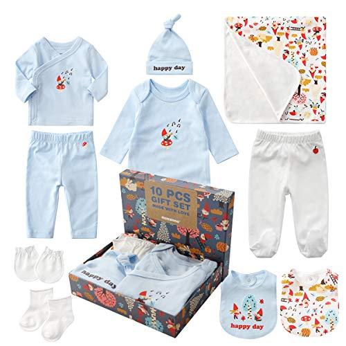 Yuwao Baby-Geschenk-Set Neugeborenen Set für Taufgeschenke Einschließlich Baby Langarm-Body, Baumwolle Tops, Leggings, Lätzchen, Socken, Handschuhe und Mütze