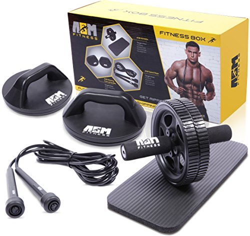 ASM Fitness Box Ab Wheel Roller with Thick Knee Pad Mat Rotational Push Up Bar Pushup Stand Skipping Rope Premium Home Gym Set