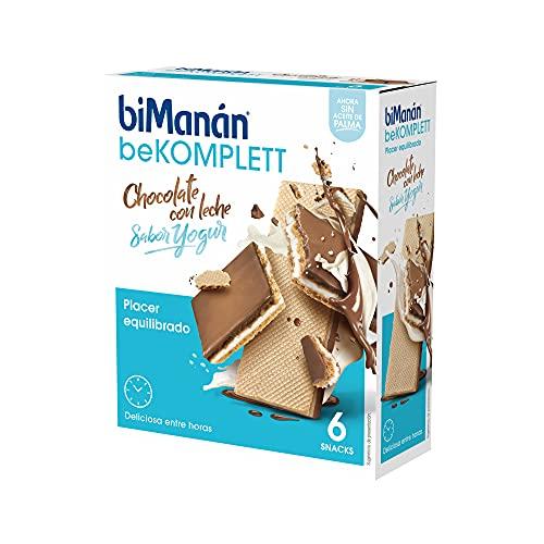 BiManán beKOMPLETT - Barquillos con Chocolate con leche rellenos de crema sabor yogur. Ricos en fibra. -Caja de 6 unidades