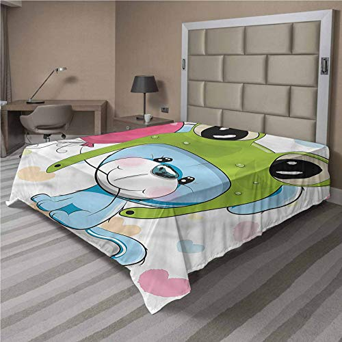 LCGGDB Cartoon Flat Top Sheet,Puppy Dog in Frog Hat Soft Comfortable Top Sheet Decorative Bedding 1 Piece,Full Size,Fit for Oversize and Extra Height Full Bed