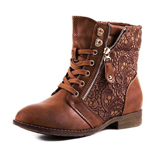 Damen Stiefel Stiefeletten Worker Boots Spitze Lederoptik Camel 41