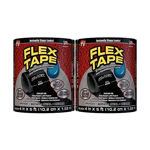 Flex Tape Rubberized Waterproof Tape, 4' x 5', Black (2 Pack)