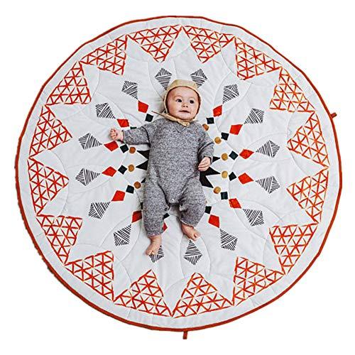 Losange - Alfombra redonda para niños, 100 % algodón, suave, estilo marroquí, 90 cm