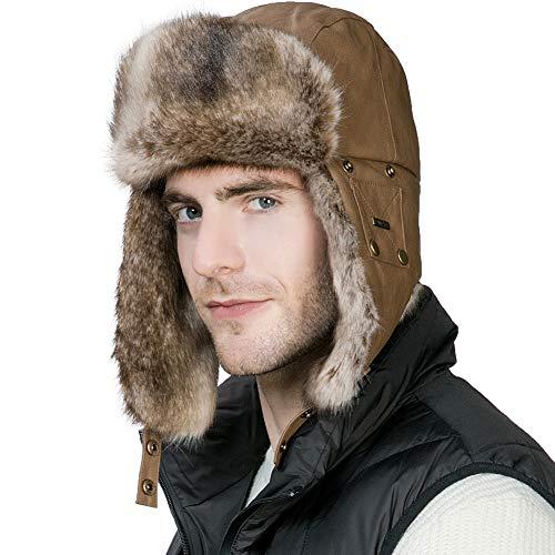 Warm Winter Faux Fur Trapper Hat Mens Ladies Lined Unisex Khaki Brown Navy New