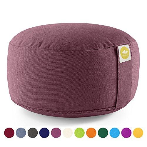 Lotuscrafts Yogakissen Meditationskissen Rund Lotus - Sitzhöhe 15cm - Waschbarer Bezug aus Baumwolle - Yoga Sitzkissen mit Dinkelfüllung - GOTS Zertifiziert