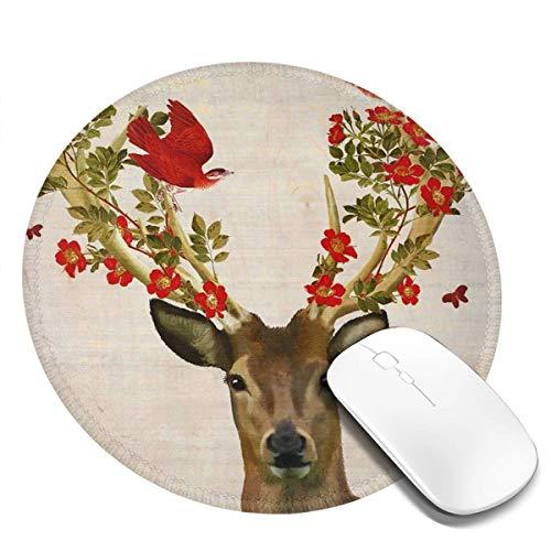 7.9x7.9in ronde muismat bureau schadelijke herten en vliegen rode vogel toetsenbord mat grote muis pad voor computer desktop laptop