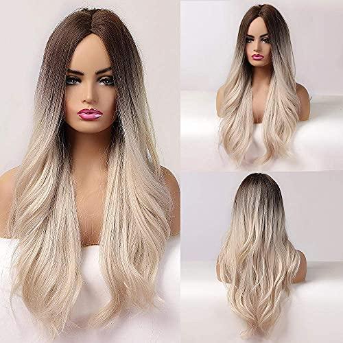 Ombre negro marrón platino rubio peluca parte media pelo sintético largo ondulado pelucas para mujeres negras Cosplay resistente al calor