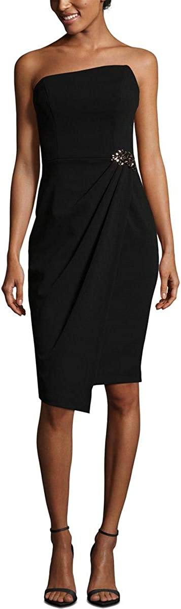 BETSY & ADAM Women's Embellished Strapless Faux Wrap Dress