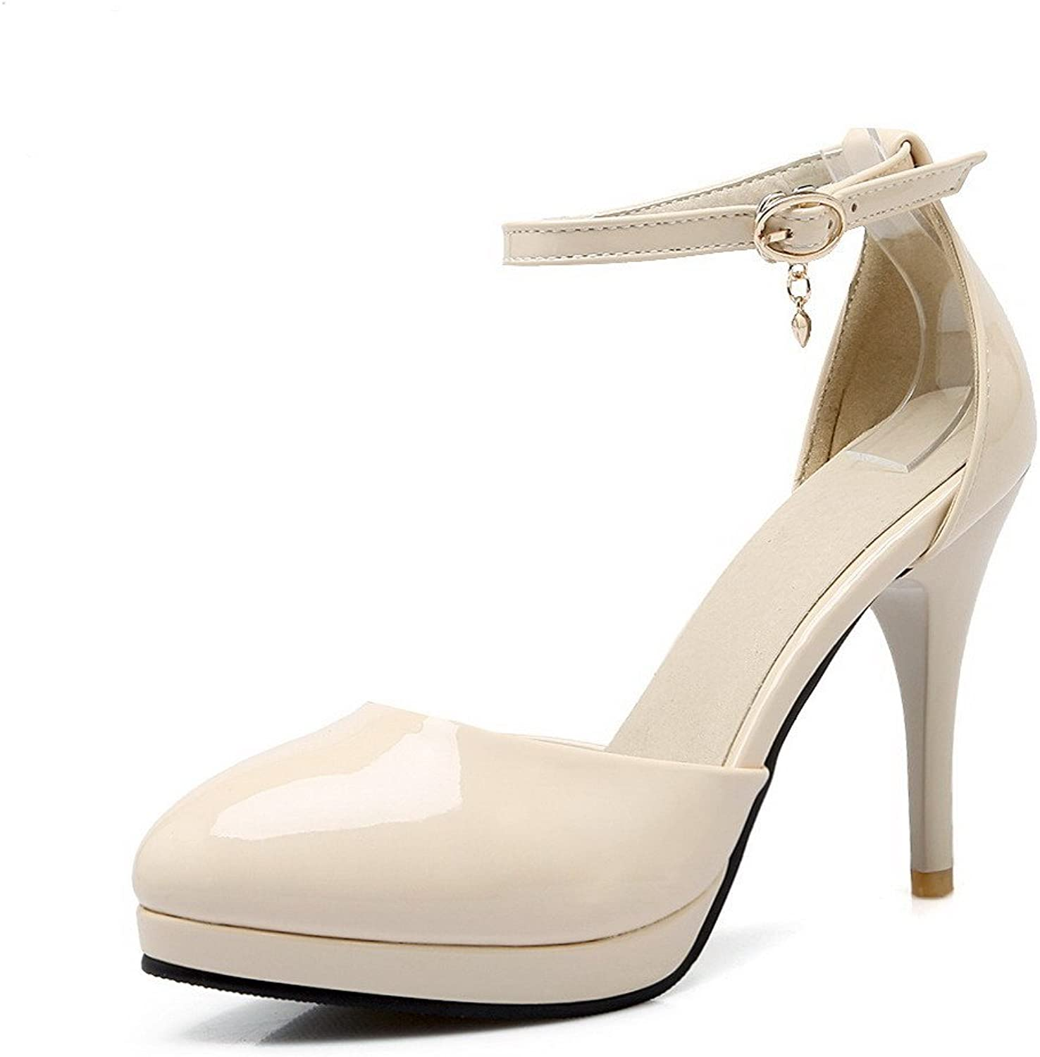 WeenFashion Women's Patent Leather Pointed Closed Toe Spikes Stilettos Buckle Pumps shoes