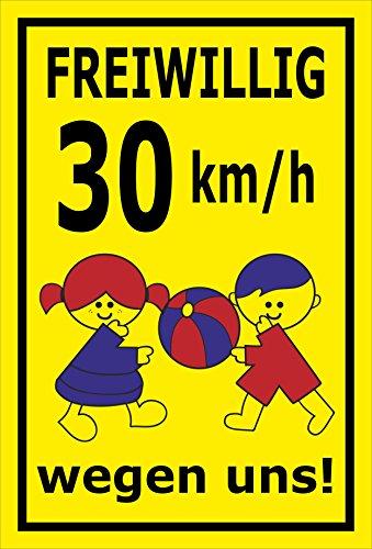 Melis Folienwerkstatt sticker schild - Vrijwellig 30 km/h - S00040-009-C 45x30cm – selbstklebender Aufkleber