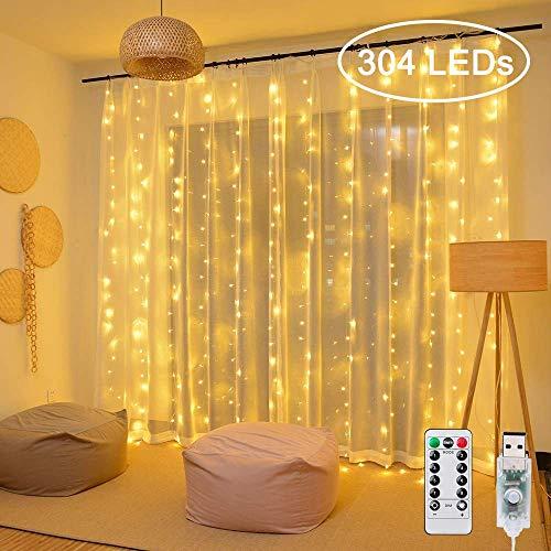 LED Lichtvorhang 3x3m 304 LEDs Ollny USB Lichterkette mit Fernbedienung & Timer 8 Modi für Weihnachten Partydekoration Geburstag Hochzeit Wohnzimmer Kinderzimmer, Warmweiß