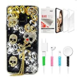 STENES Sparkle Case Compatible with Samsung Galaxy J2 Prime - Stylish - 3D Handmade Bling Crown Skull Tassel Design Cover Case with Screen Protector & Cable Protector - Gold&Black