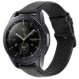 iBazal 20mm Cinturino Pelle Rilascio Rapido Cuoio Bracciale Compatibile con Samsung Galaxy Watch 3 41mm/Galaxy Watch 42mm/Active 40mm/Gear S2 Classic/Sport/Huawei Watch 2/Ticwatch 2/E Uomo - Nero