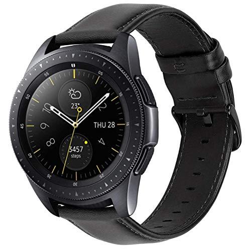 iBazal 20mm Cinturino Pelle Rilascio Rapido Cuoio Bracciale Compatibile con Samsung Galaxy Watch 42mm/Active 40mm/Gear S2 Classic/Sport/Huawei Watch 2/Ticwatch 2/E/Vivomove HR/Amazfit Bip Uomo - Nero