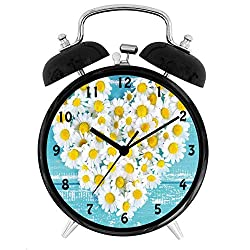BCWAYGOD Yellow and Blue, Heart Shaped Daisy Flowers Romantic Love Valentines Chamomile Blossoms,Desk Clock Home Unique Decorative Alarm Ring Clock 4in, Sky Blue White