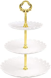 DAYONG Afternoon Tea Dessert Plate 3-tier Cupcake Stand Fruit Tray for Wedding Home Birthday Party Christmas Family Dinner