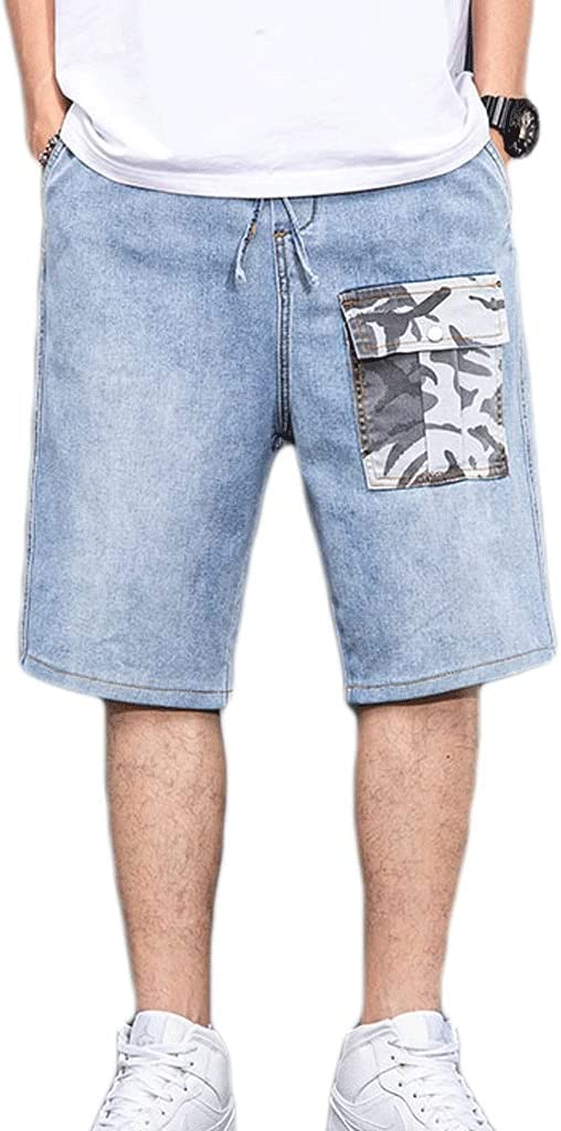 WXYPP Summer Light-Colored Casual Loose Straight-Leg Pants Men's Camouflage Tooling Five-Point Denim Shorts Comfortable (Color : Blue, Size : Large)
