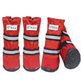 HelloPet Water Resistant Dog Boots Warm Lining Nonslip Rubber Sole for Snow Winter,4PC (M, Red)