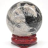 ZXCZXC Cuarzo Natural Cristal Reiki Bola de Piedras Preciosas de Piedras Preciosas Hoja de Plata Jasper Tinket Decoración de Piedra con colección de Soporte Decoración de Regalo 40mm