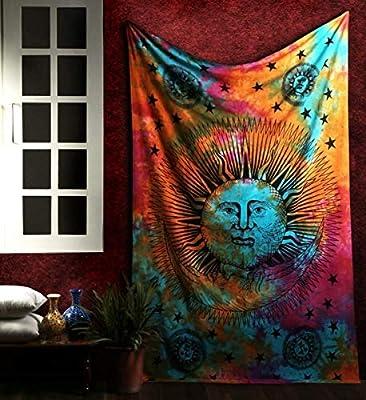 Marubhumi Psychedelic Sun Moon Stars Tie Dye Mandala Tapestry Hippie Hippy Celestial Wall Hanging Indian Trippy Bohemian Tapestries (Multi, 30 X 42 Inch (76 x 106 Cms))