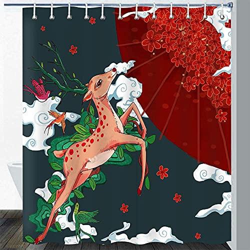 Ciervo Cortina DuchaPájaro Árbol Ciruelo Flor Paraguas Nube Bohemia Flor Planta Japonesa Ukiyo-e Animal Colorido Arte Juego de Cortina de baño con 12 Ganchos 72X72In