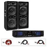 Auna Pro PW - MKII Lote de PA, Amplificador + 2 Altavoces pasivos de PA, 4...