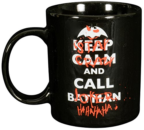 BATMAN, Porzellan, ca. 300ml Keep Calm, Stay Crazy and Call Joker-0122041 Tasse, Keramik, schwarz, 12 x 7.5 x 9.3 cm