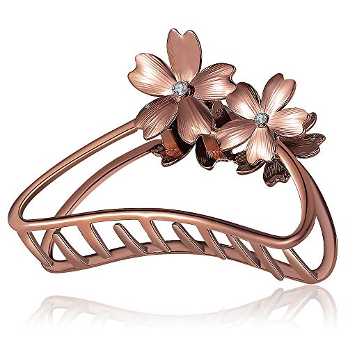 ACCGLORY Rose Gold Flower Metal Hair Clips Hairgrip Strong Non-Slip Hair Jaw Clip For Women Thick Hair (Flower-Red Bronze)