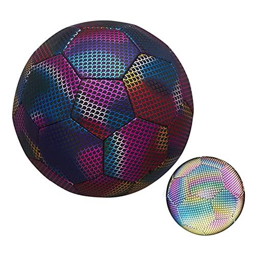 Palloni da Calcio - Pallone da Calcio Riflettente - Misura 5/4 - Pallone da Calcio Allenamento Unisex Adulto, Calcio Olografico Riflettente per Allenamento Notturno