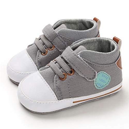 Sakuracan Baby Shoes Boys Girls Toddler High-Top Ankle Canvas Sneakers Soft Sole Newborn Infant First Walkers Crib Shoes( 6-12 Months Infant,A-Navy
