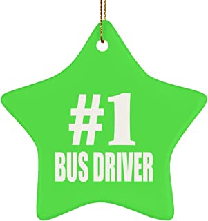 Number One #1 Bus Driver - Star Ornament Christmas Tree Decor-ation - Gift for Friend Colleague Retirement Graduation Kelly Birthday Anniversary Christmas Thanksgiving