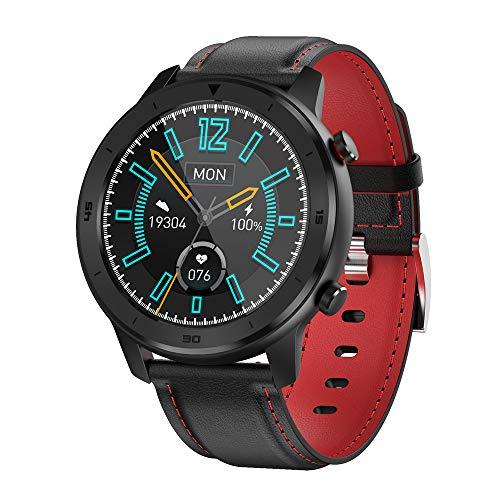 YTGOOD DT78 Smart Watch Sports Smartwatch Fitness Pulsera B1.3inch Pantalla táctil Completa 230mAh Batería IP68 Monitor de Salud a Prueba de Agua Banda de Cuero Rojo