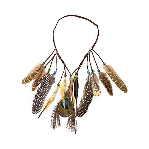 Milageto Bandas para el pelo indias tribales con tocado indio bohemio con cuentas de hojas
