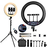 FOSITAN 21-inch LED Ring Light Kit【Upgraded】with 3 Phone Holders, Stand, Bluetooth Remote, 2900K-6500K Dimmable, Suit for YouTube/TikTok/Instagram video shooting, Selfie, Live Streaming, Makeup, ect
