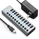 USB Expander Hub, 11 Ports Powered USB Hub for PC & Laptop with 10 USB 3.0 Data Ports + 1 Fast Charging Port, 3.3ft Extra Long Cable, Individual Switches, 12V/4A Power Adapter, Aluminum, Space Gray