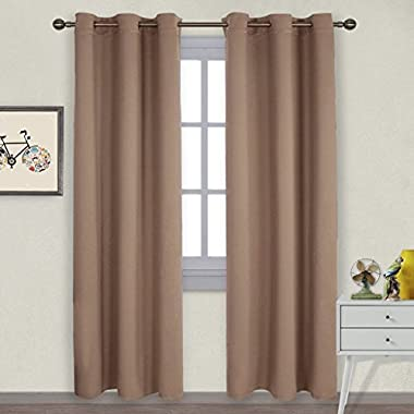 NICETOWN Window Treatment Thermal Insulated Solid Grommet Blackout Curtains/Drapes for Bedroom (One Pair,42 by 84 Inch,Cappuccino)