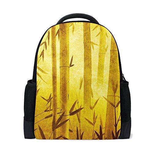LIANCHENYI Sac à dos en bambou Motif forêt dorée